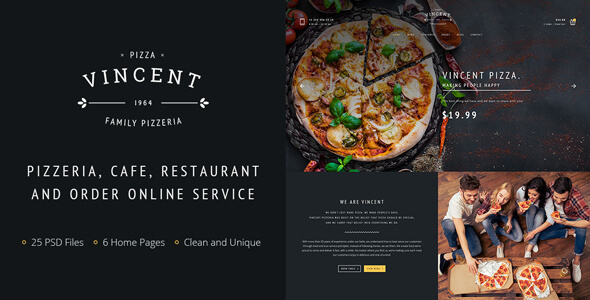 Restaurant | Vincent Restaurant and Pizza Cafe PSD