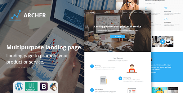 Archer Multi Variant Landing Page WordPress Theme