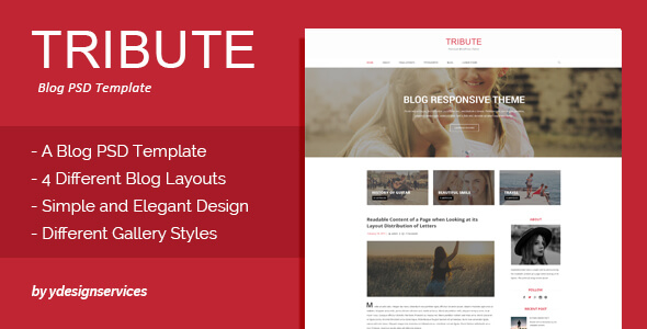 Tribute - Blog PSD Template