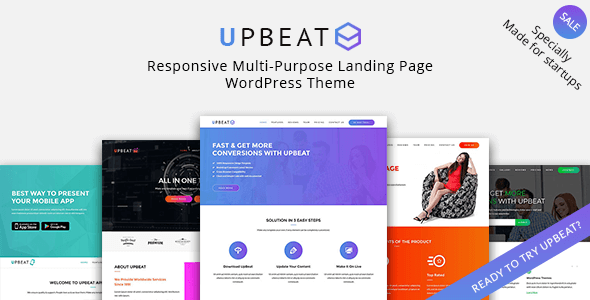 Upbeat - Responsive Multi-Purpose Landing Page WordPress Theme