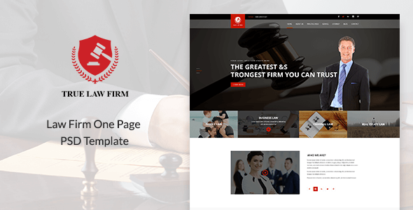 TRUE - Law Firm One Page PSD Template