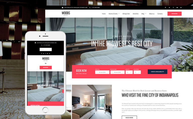 Woods Hotel - Hotel & Resort WordPress Theme