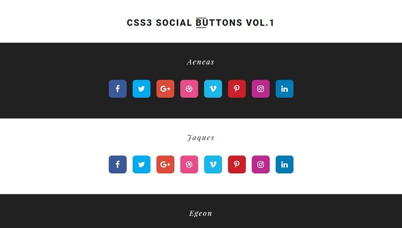 CSS3 Social Buttons Vol.1