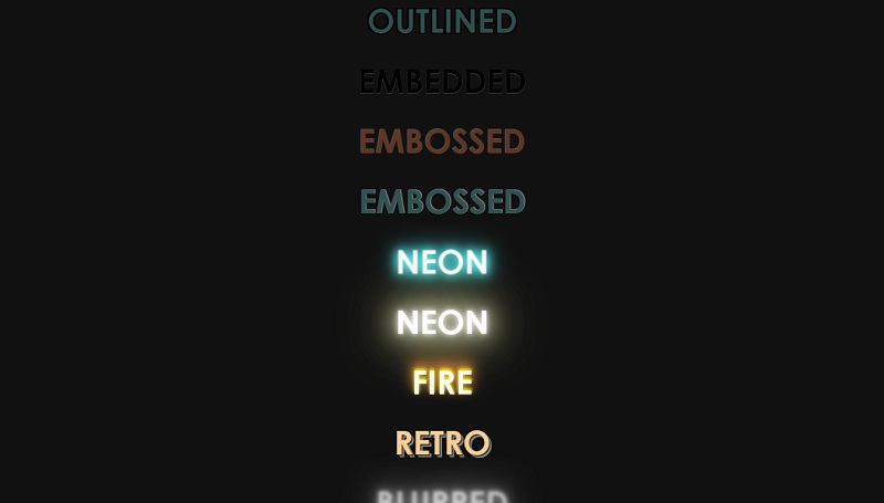 Collection of CSS Text Effects