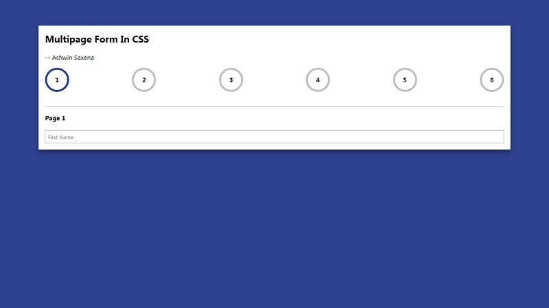 Multi Page CSS Form