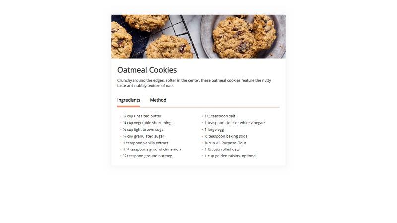 Responsive recipe card