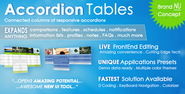 Accordion Tables, FAQs, Columns, and More