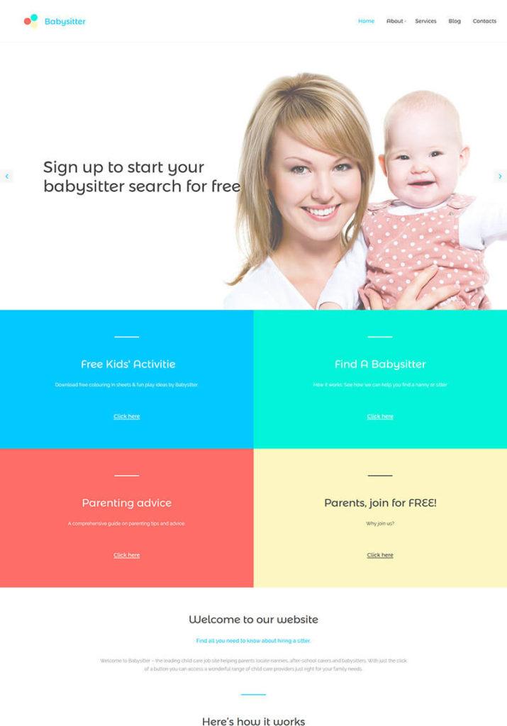 Babysitter Responsive Moto CMS 3 Template