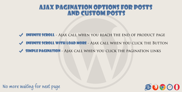 Ajax pagination & Infinite Scroll for posts