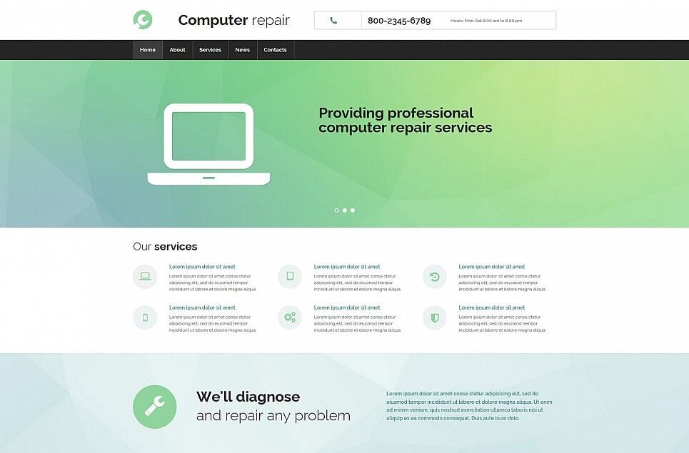 Computer Repair Responsive Moto CMS 3 Template