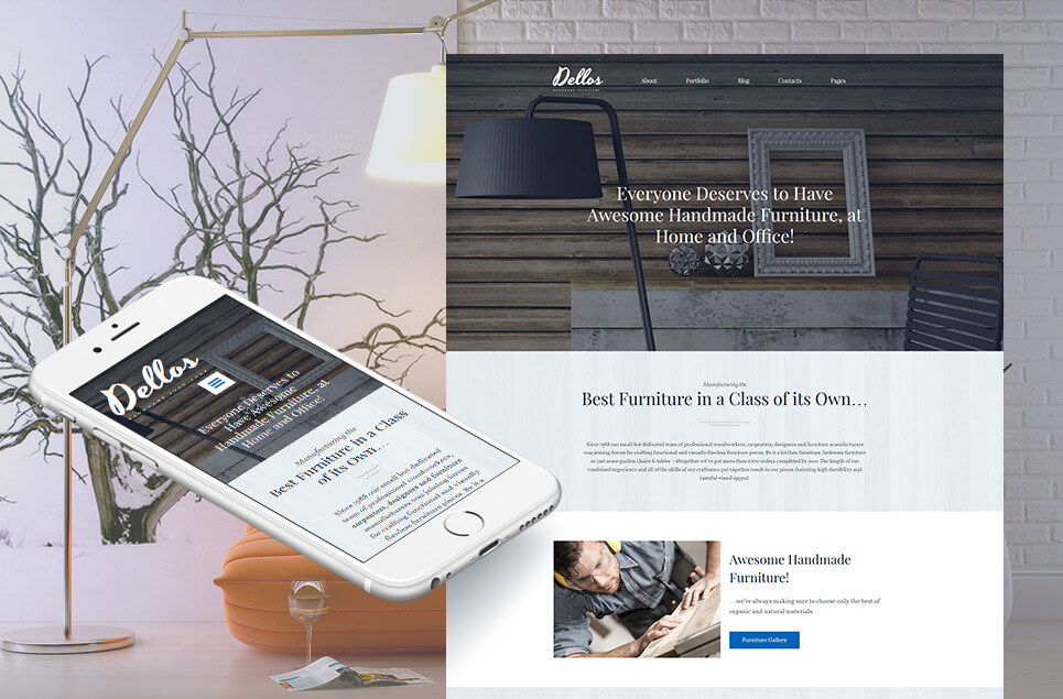 Dellos - Handmade Furniture & Interior Moto CMS 3 Template