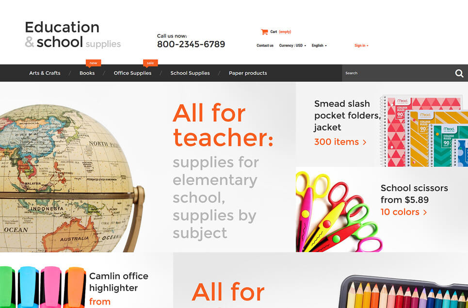 Education School Supplies PrestaShop Theme