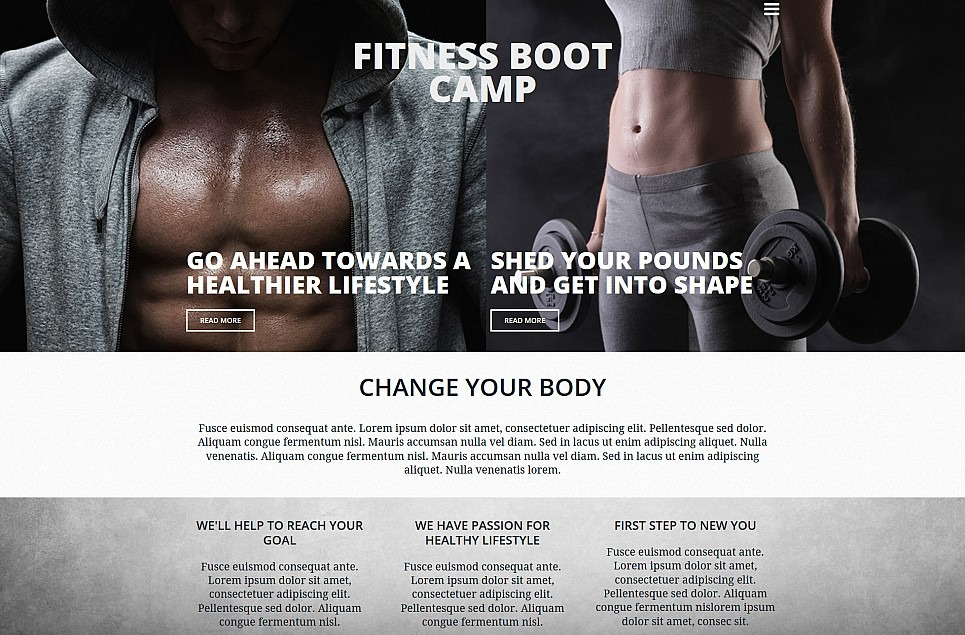 Fitness Responsive Moto CMS 3 Template
