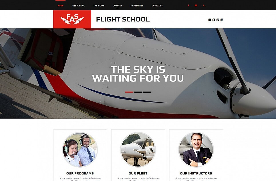 Flight School Responsive Moto CMS 3 Template