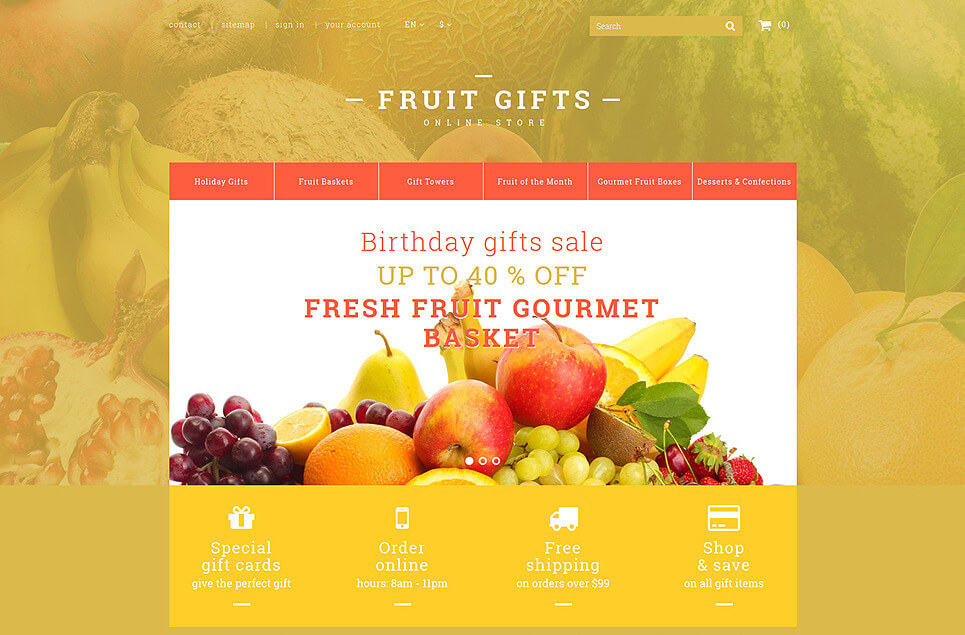 Fresh Fruit Gift Basket PrestaShop Theme