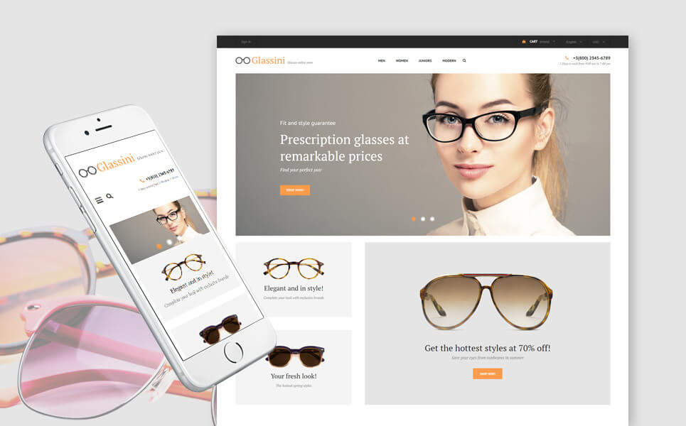 Glassini - Glasses Store Responsive PrestaShop Theme