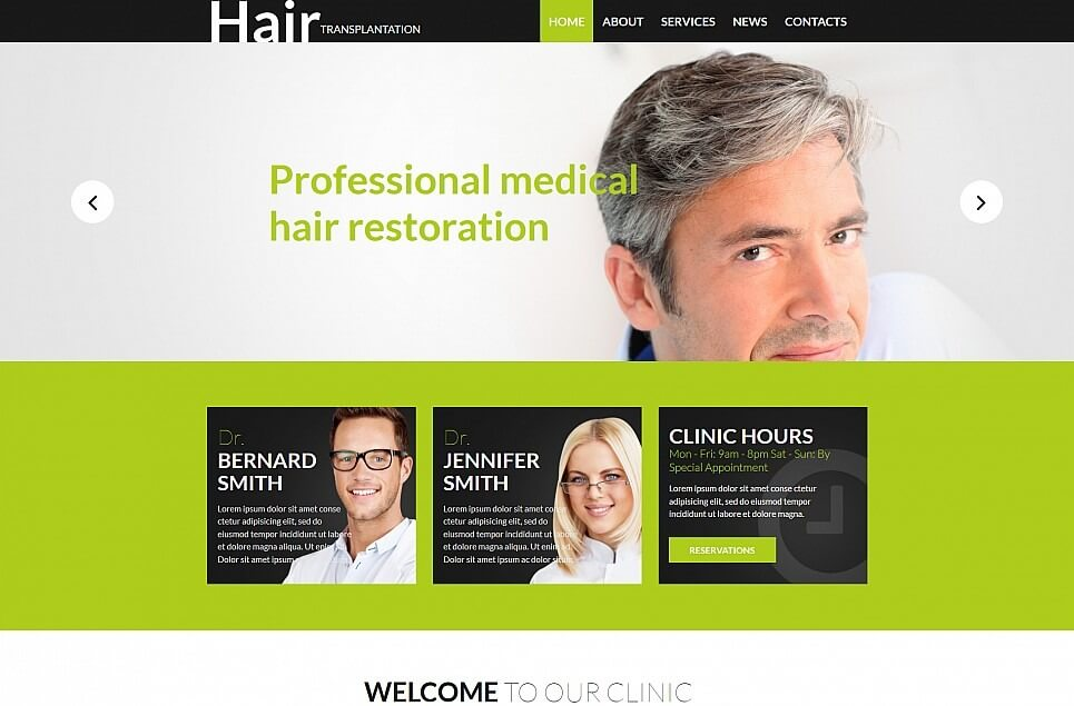 Hair Clinic Responsive Moto CMS 3 Template