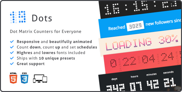 Dots Countdown, Responsive Dot Matrix Counter Plugin