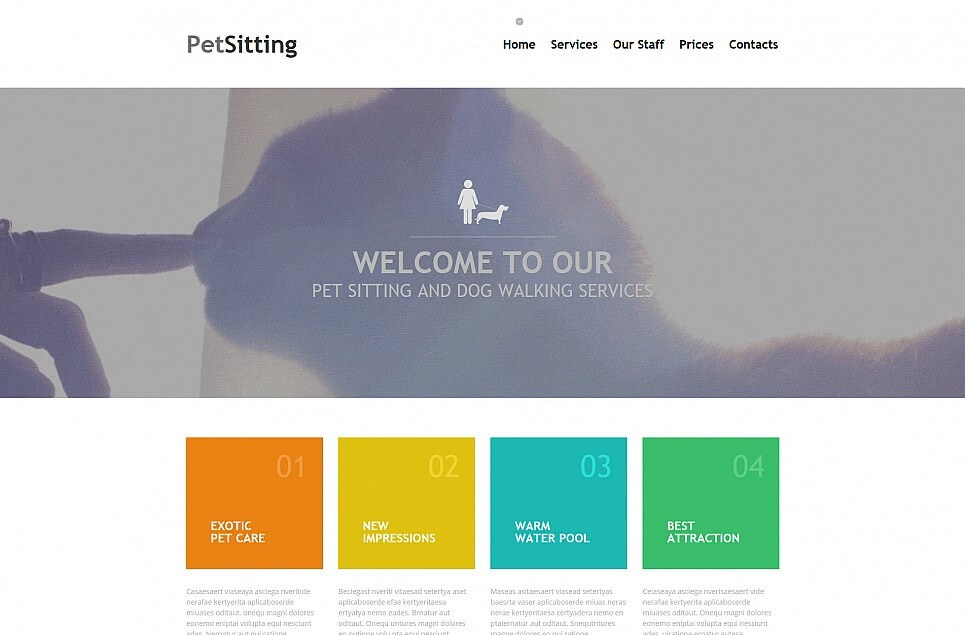 Pet Sitting Responsive Moto CMS 3 Template