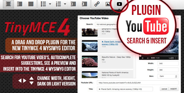 TinyMCE 4 plugin Youtube search and insert