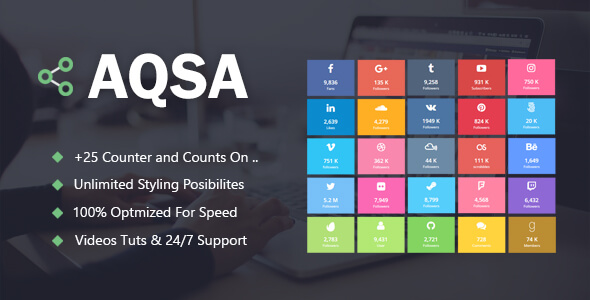 Aqsa - Social Counter Plugin For WordPress