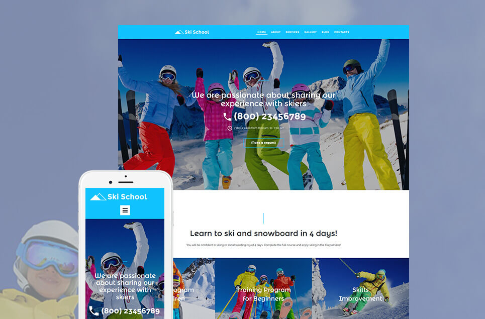Skiing Responsive Moto CMS 3 Template