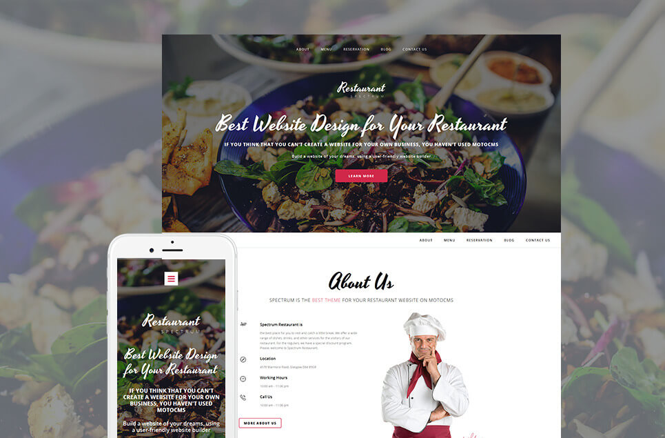 Spectrum Restaurant Moto CMS 3 Template