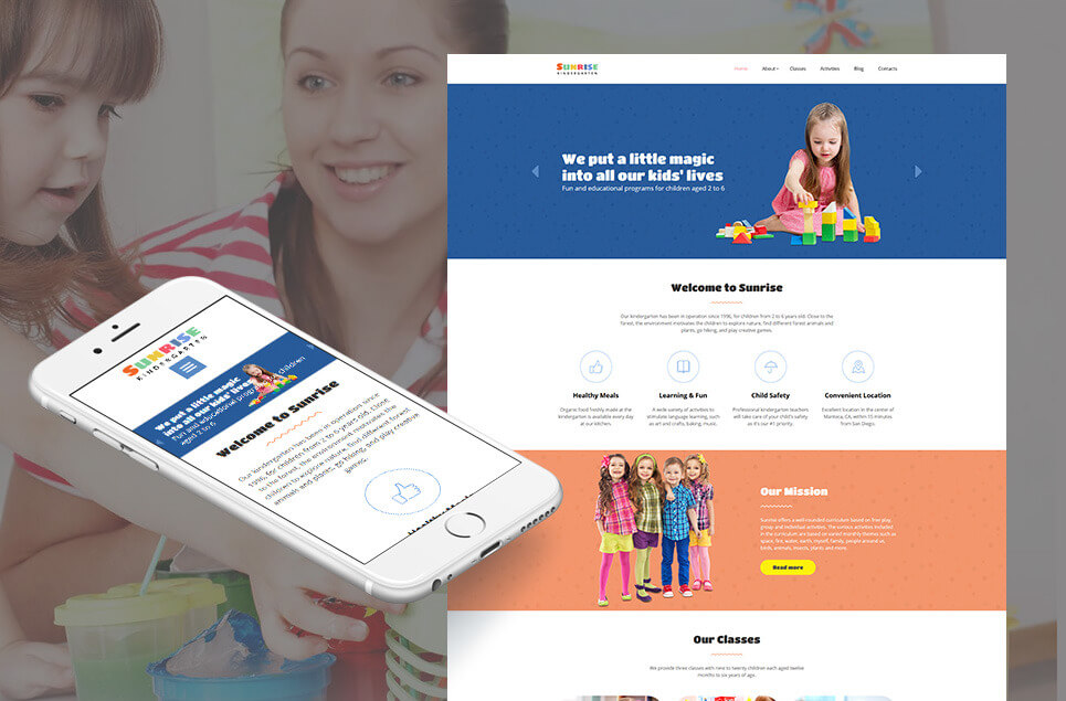 Sunrise - Kids Center & Kindergarten Moto CMS 3 Template