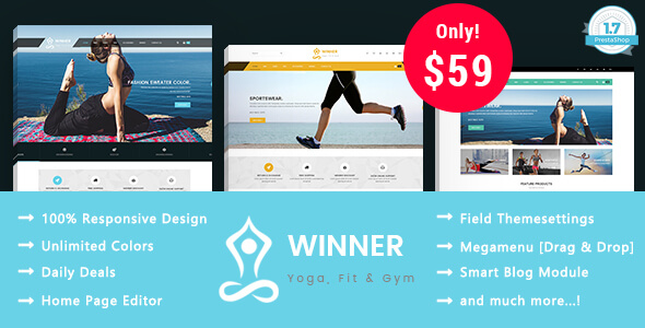 Winner - Yoga Gym & Fitness Responsive Prestashop 1.7 Theme