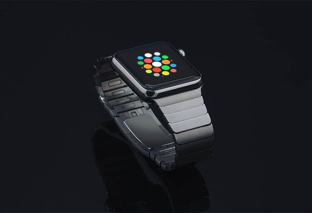 Stainless Steel Apple Watch Mockup