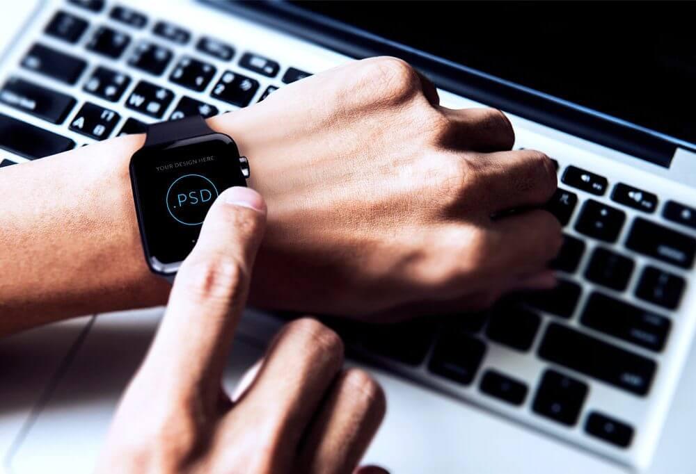 Touching an Apple Watch Mockup