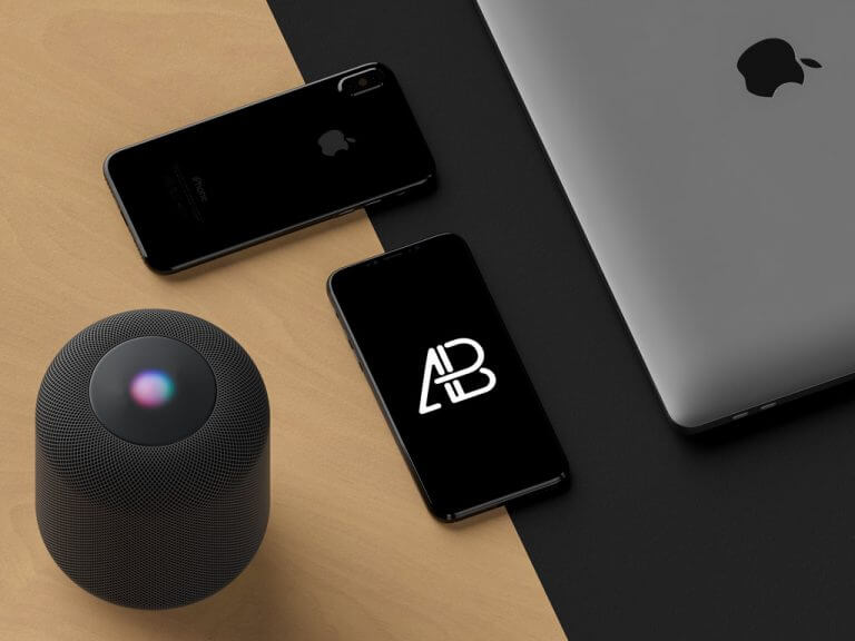 iPhone 8 with HomePod Mockup
