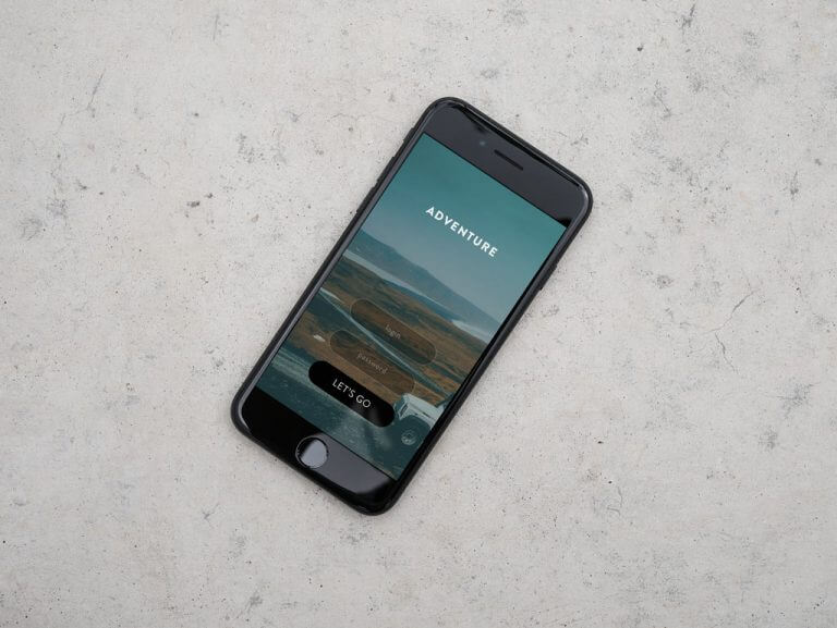 iPhone on Concrete Background Mockup
