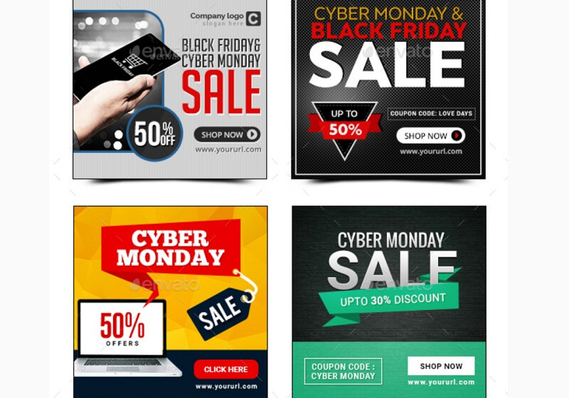 Cyber Monday Banners Bundle - 9 Sets - 204 Banners