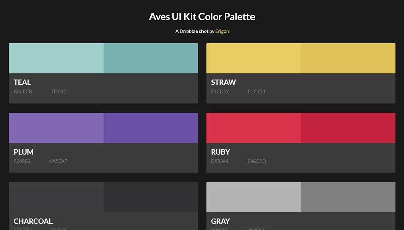 Aves UI Kit Color Palette