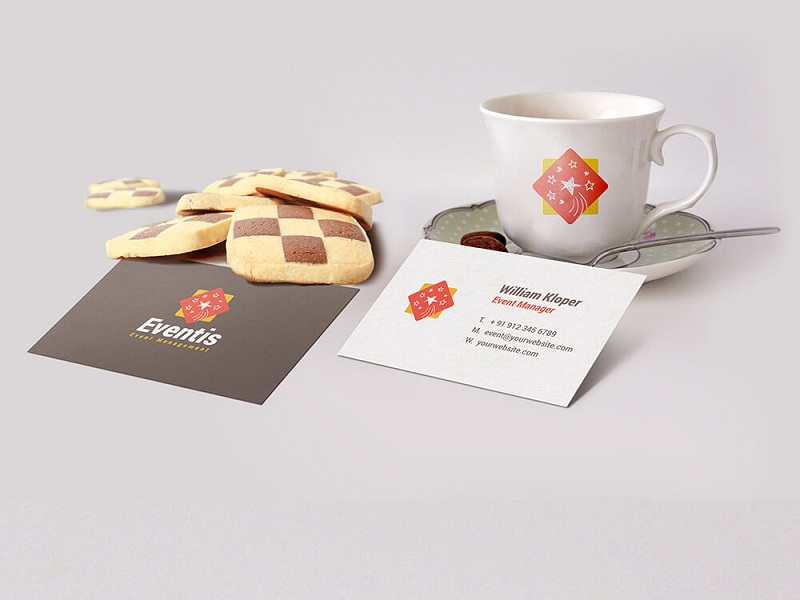 Business Card And Coffee Cup Scene