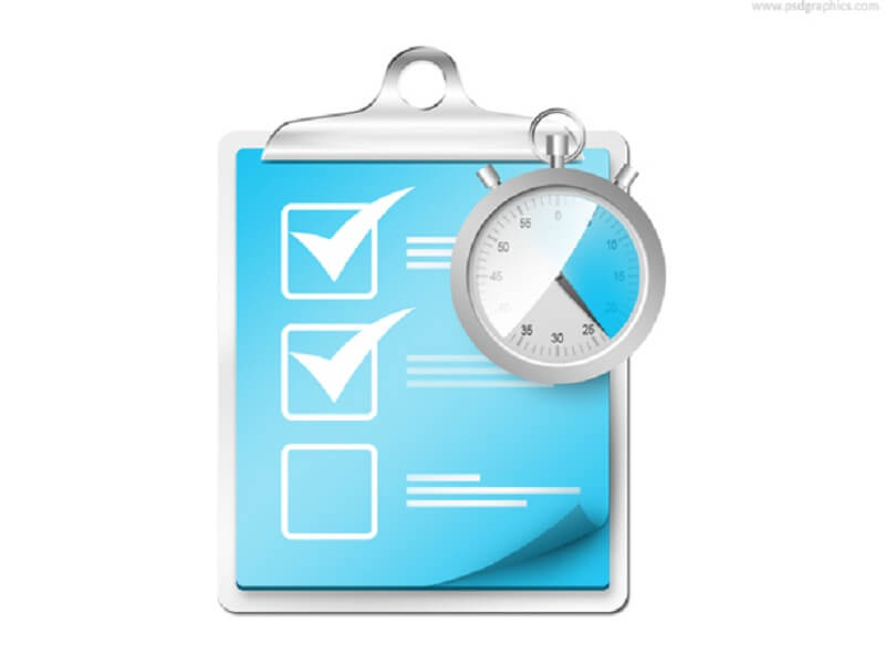 Checklist with stopwatch icon