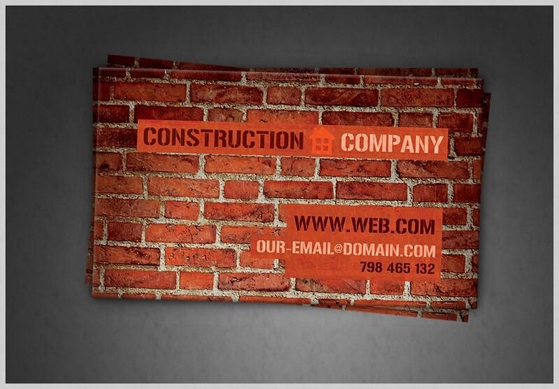 Construction Company Business Card PSD