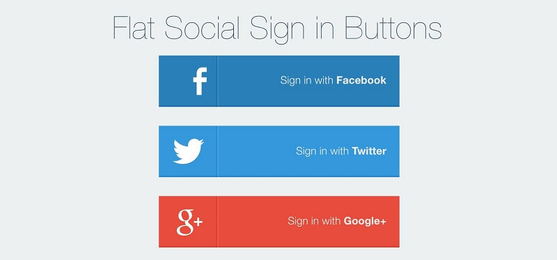 Flat Social Sign In Buttons