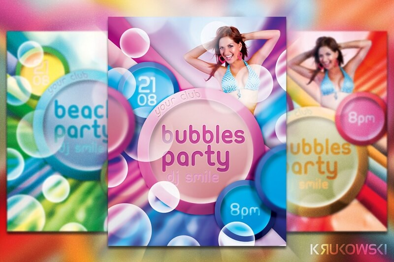 Freebie Bubbles Party Flyer