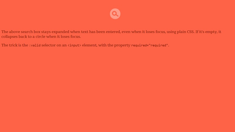 Latching CSS Input Expander