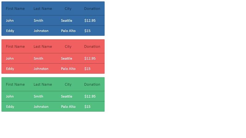 MODERN TABLE CSS