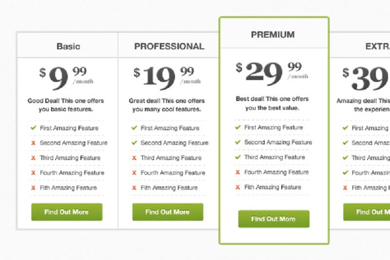 Pricing Table PSD Freebie