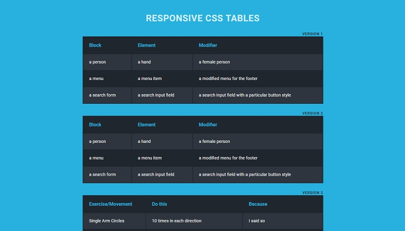 Responsive CSS Tables