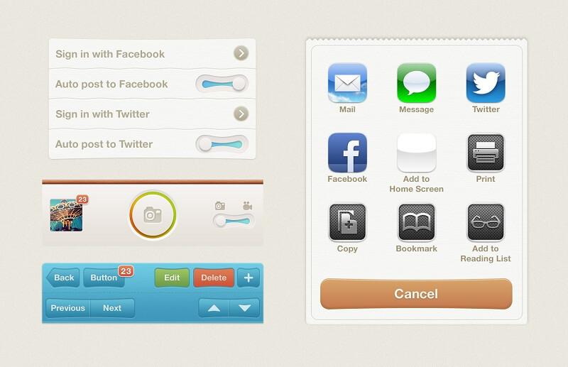 Vintage iOS UI Kit