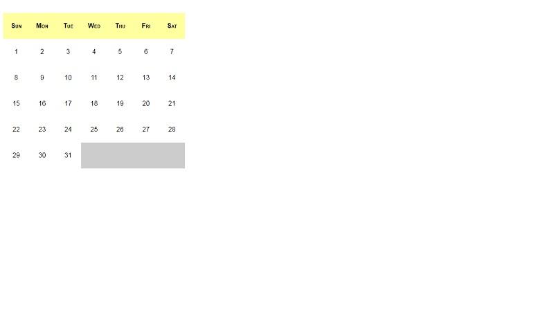 CSS calendar with an HTML list