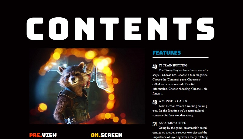 Magazine Layout - Contents Page