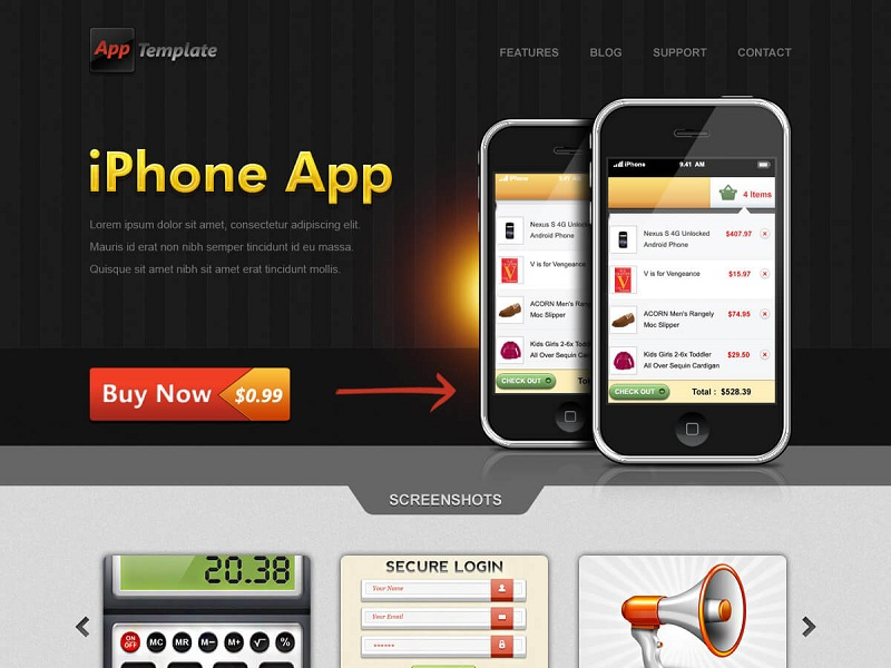 iPhone App website template